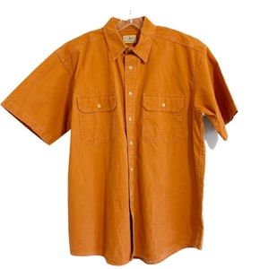 LL BEAN Short Sleeve Denim Button Up Shirt Orange